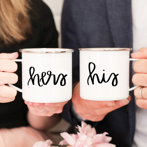 His & Hers Enamel Campfire Mug Set