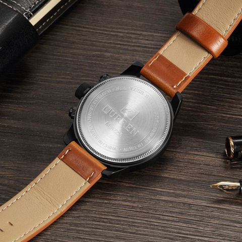 Mahogany Mean - Genuine Leather Band Watch