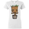 Image of Ladies Cute Baby Groot T-Shirt