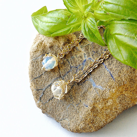 Opalite Charm Necklace- Gold