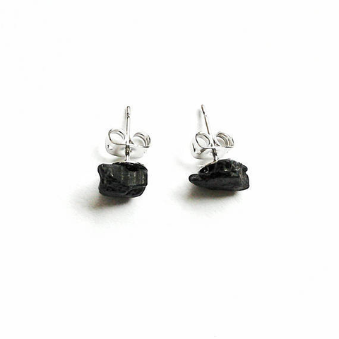 Raw Black Tourmaline Stud Earrings