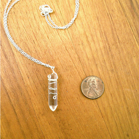 Quartz Point Necklace- Silver