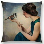Woman with Bird and Key Pillow
