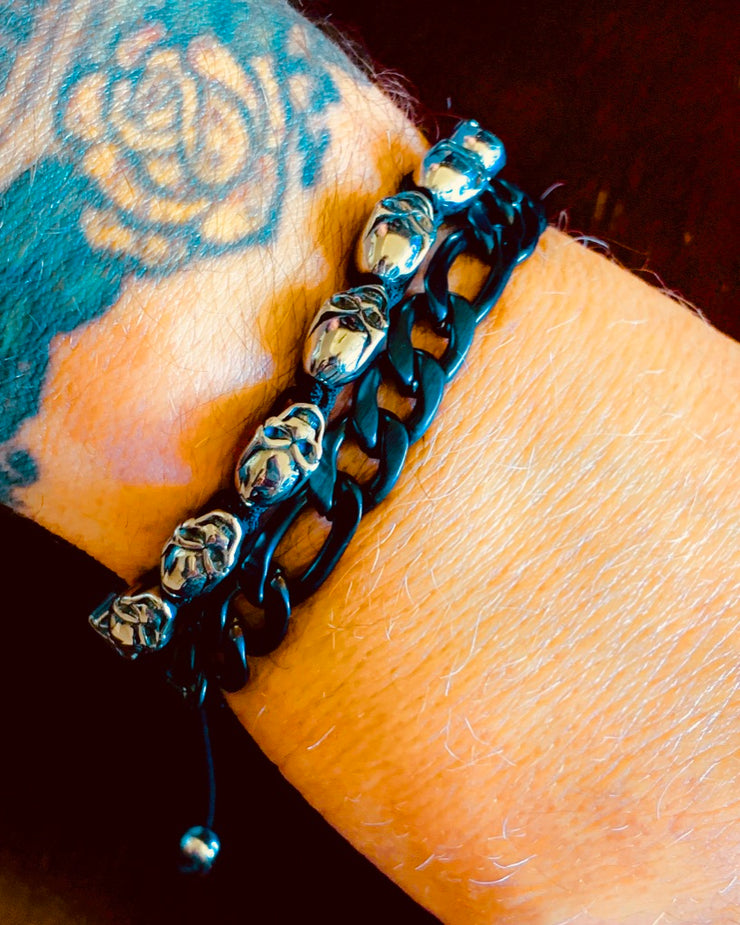"""Wild Side"" Men's Matte Black Chain Bracelet"