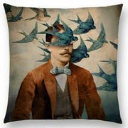Man with Flock Blue Birds (not Seagulls) Pillow