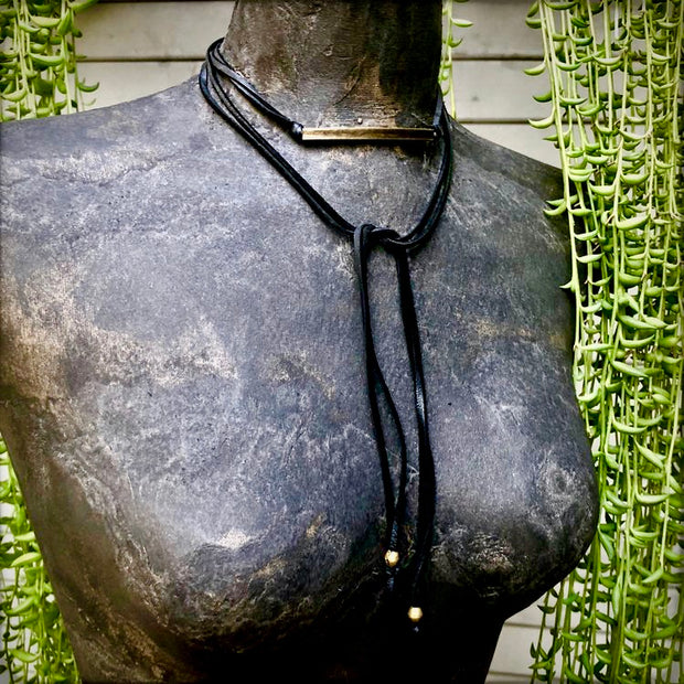 Bohemian Black Leather Wrap Choker
