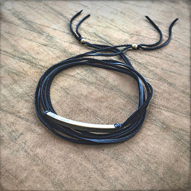 Astali Leather Wrap Choker Black