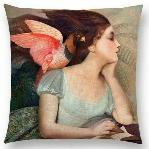 Girl with Parrot Pillow
