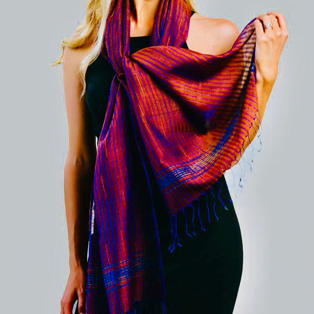 Raga  Copper & Sapphire Silk and Wool Scarf