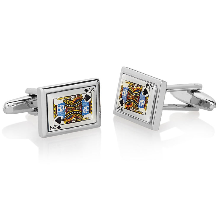 Men's High Polished King of Spades Cuff Links