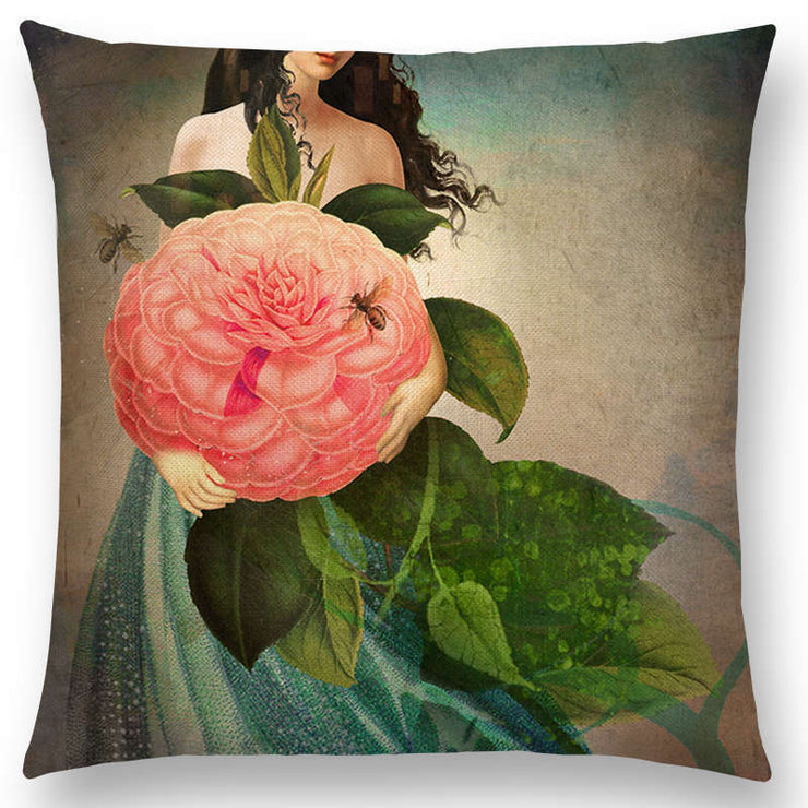 Girl with Large Rose Pillow