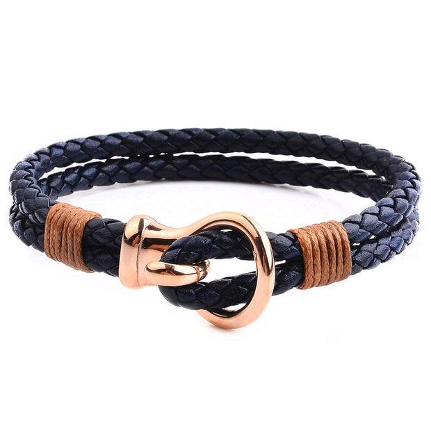 Men's Polished Copper Stainless Steel Buckle & Black Leather Bracelet