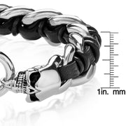 """Wild Side©"" Men's, Double, Skull, Braided, Stainless Steel & Black Leather Bracelet"