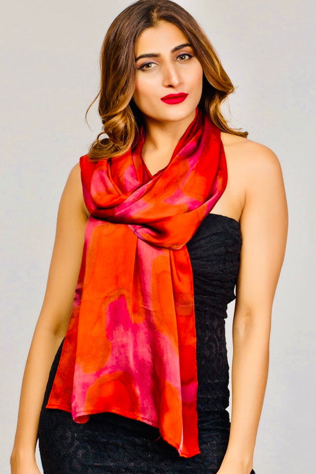 Hand Painted Red Satin Scarf