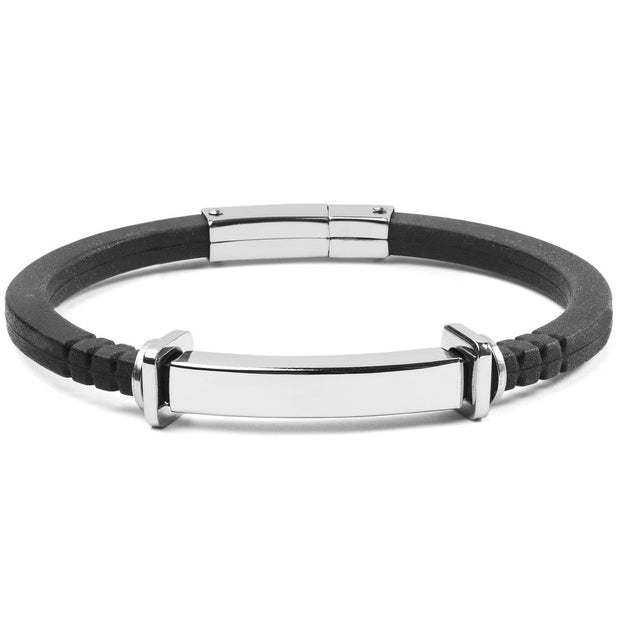 Men's Stainless Steel ID Tube Black Rubber Bracelet