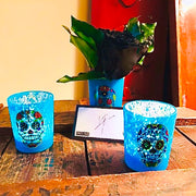 Set of Three Sugar Skull Mercury Glass Votives, One Filled with 4Ever Real Flora© Roses & Vince's Autograph