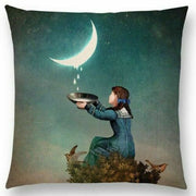 Girl Catching Moon Drops Pillow