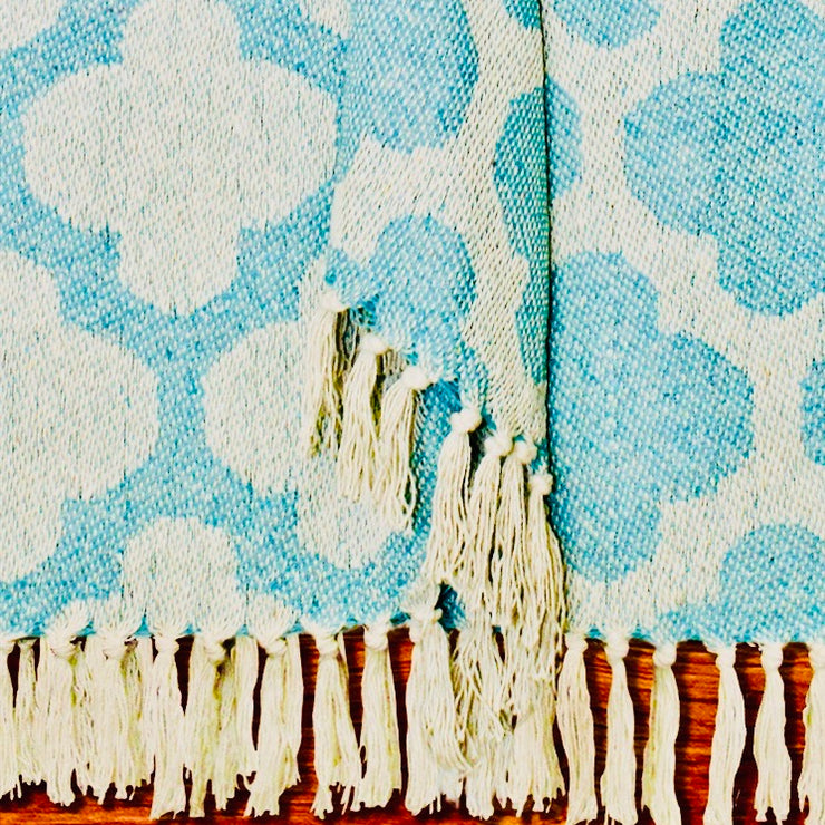 Angel's Landing Aqua & White, Royal, Clover Pattern Throw
