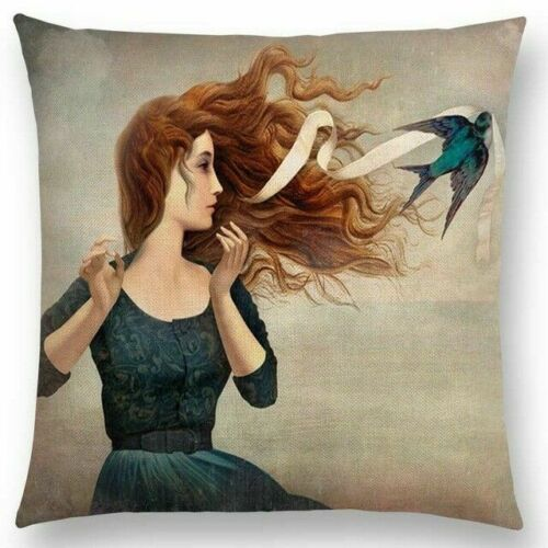 Woman with Ribbon and Bird Pillow