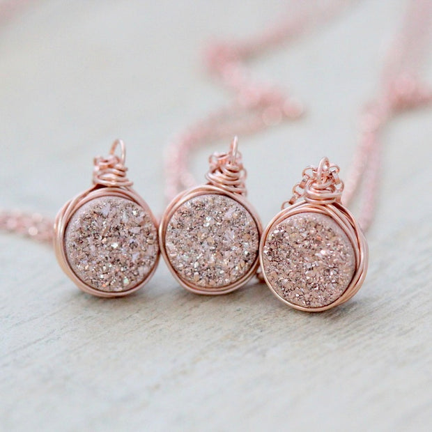 Saressa Petite Druzy Bezel Pendant Necklace - Gilded Rose Gold