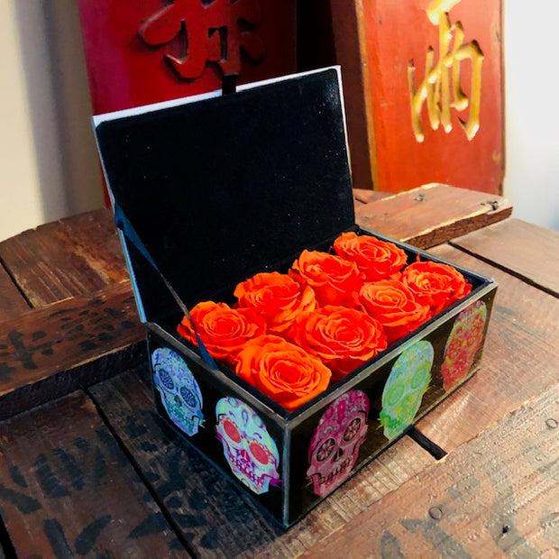 Pop Art Skull Glass Box Filled with 4Ever Real Flora© Roses & Vince's Autograph