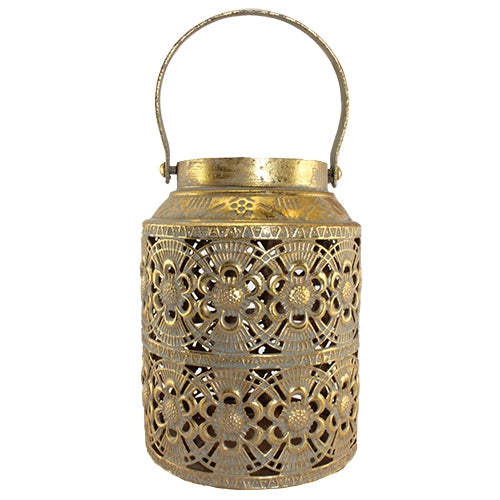 Dasha Gold and Taupe Metal Lantern