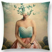 Woman with a head of Butterflies Pillow