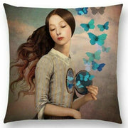 Woman with Compact and Butterfly Pillow