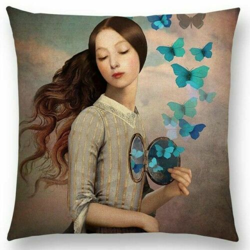 Woman with Compact & Butterfly Pillow