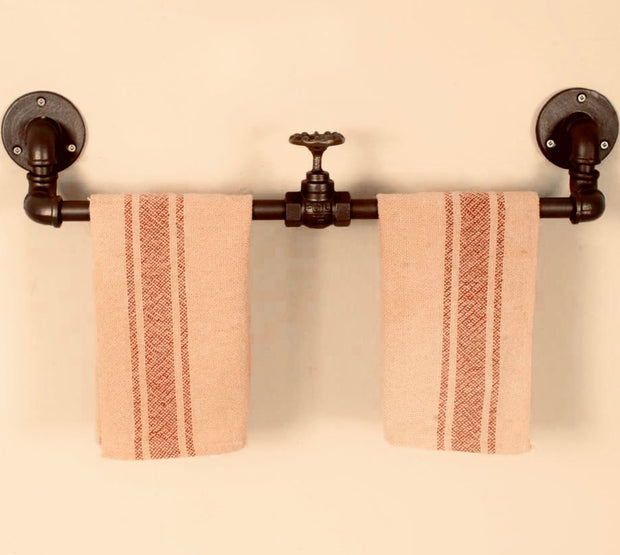 Industrial, Plumbing. Double, Towel Rack with Valve