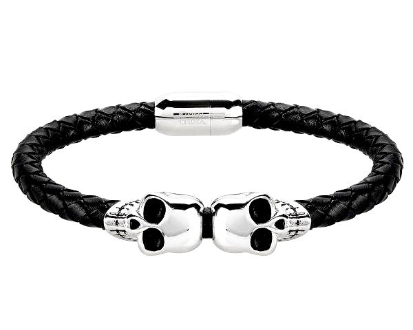 """Wild Side©"" Men's Black Leather & Stainless Steel Double Skull Bracelet"
