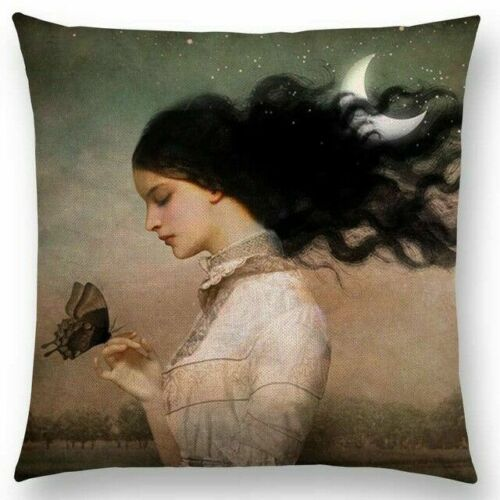 Girl Holding A Butterfly Pillow