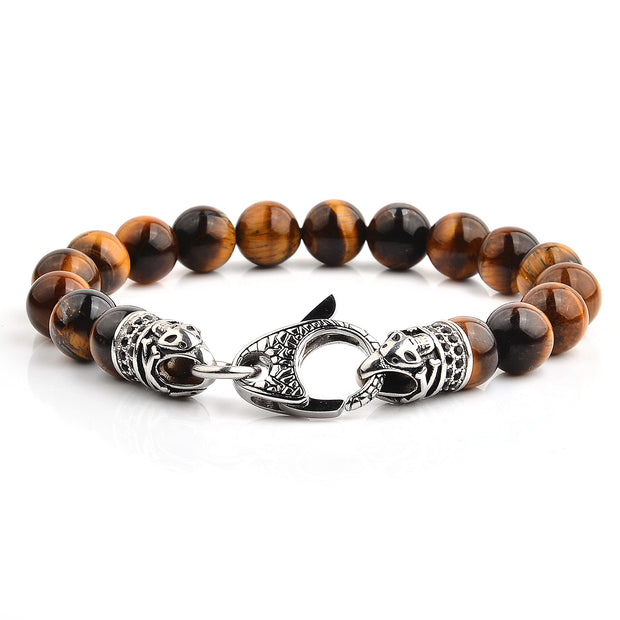 Men's Polished Stone Beaded Bracelet with Antiqued Stainless Steel Clasp