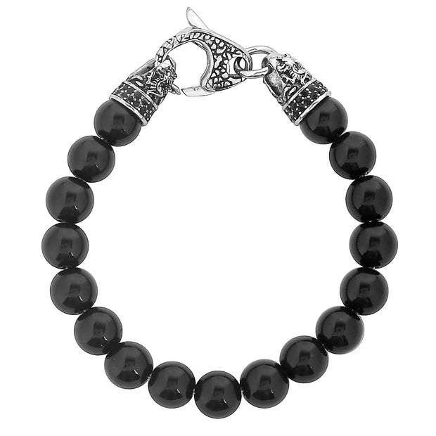 """Wild Side©"" Men's Silver Dragon Clasp & Polished Black Onyx Beaded Bracelet"