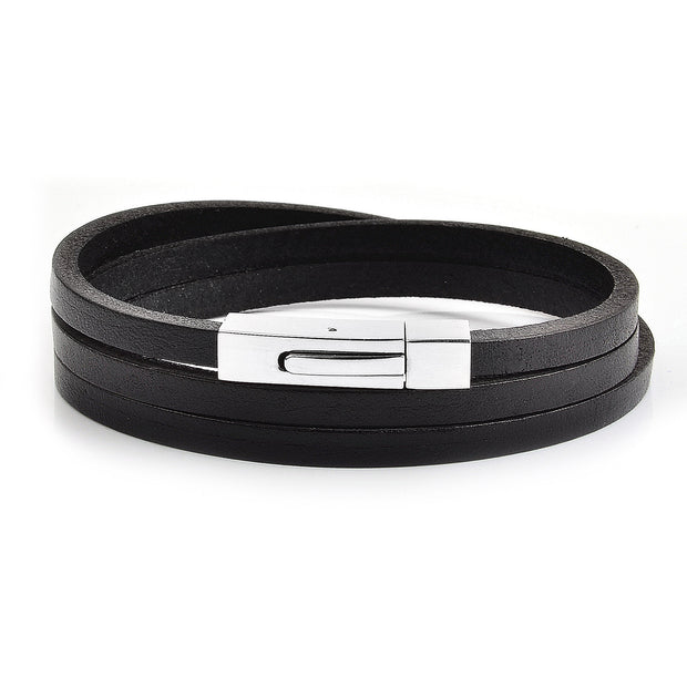 Men's Stainless Steel Woven Black Leather Bracelet