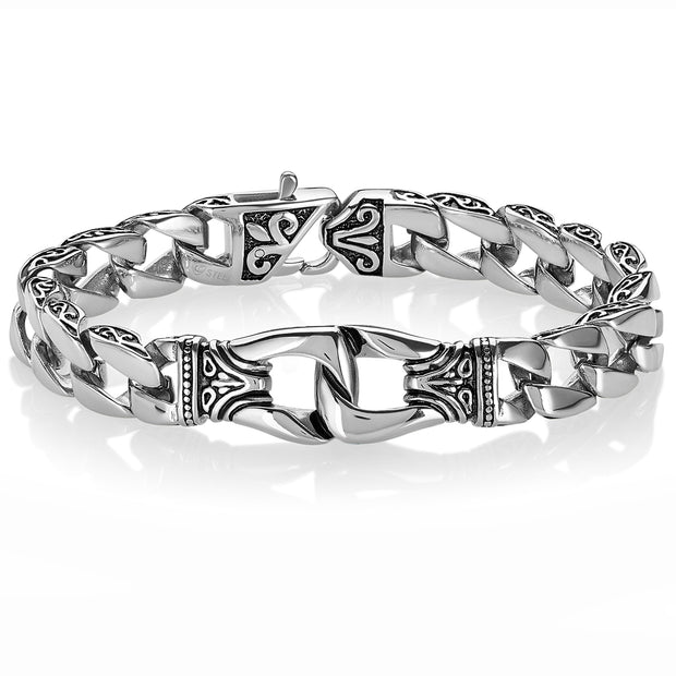 Men's Stainless Steel Polished Antiqued Fleur-De-Lis Curb Chain Link Bracelet