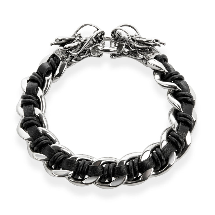 """Wild Side"" Men's Stainless Steel Dragon Heads Clasp Black Leather Curb Chain Link"