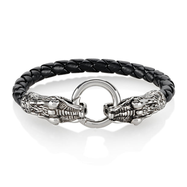 """Wild Side©"" Men's Stainless Steel Twin Dragon Clasp Braided Leather Bracelet"