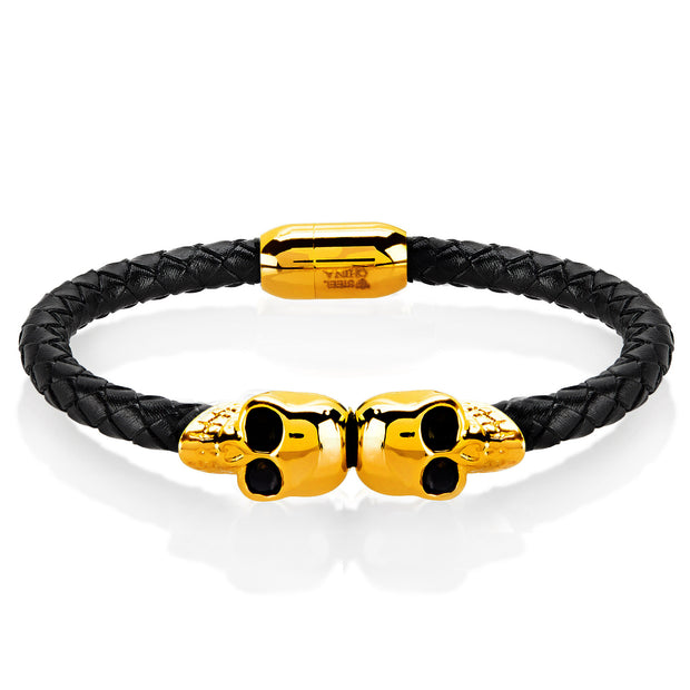 """Wild Side"" Men's Black Leather & Stainless-Steel Bracelets"