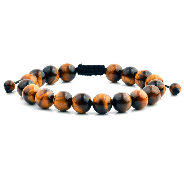 """Knock'em Dead Kid"" Unisex Adjustable Gold Tiger Eye Beaded Bracelet"