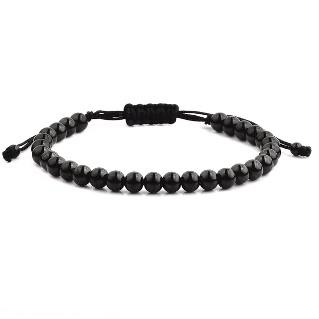 """Knock'em Dead Kid©"" Polished, Black, Stainless Steel Beaded Bracelet"