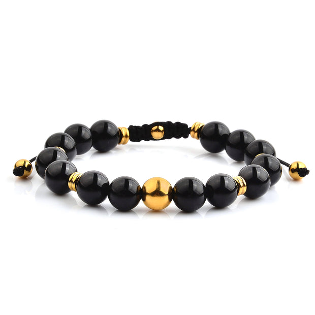 """Knock'em Dead Kid"" Unisex Shiny Black Onyx & Gold Beaded Adjustable Bracelet"