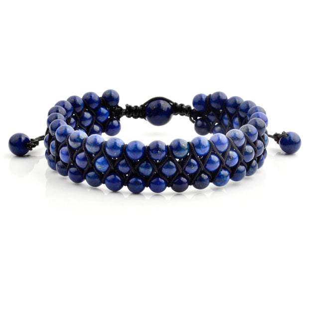 """Knock'em Dead Kid"" Unisex Adjustable Lapis 3 Tier Beaded Bracelet"