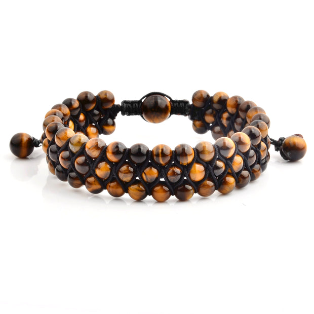 """Knock'em Dead Kid"" Unisex Adjustable Gold Tiger Eye Three Row Beaded Bracelet"