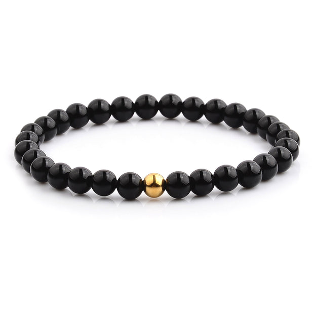 """Knock'em Dead Kid"" Shiny Black Onyx & Gold Bead Beaded Bracelet"