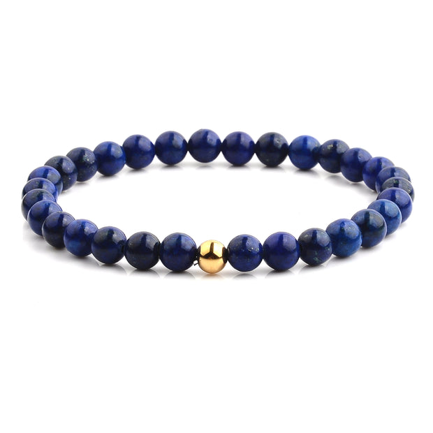 """Knock'em Dead Kid"" Unisex Adjustable Lapis & Gold Beaded Bracelet"