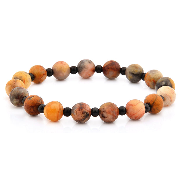 """Knock'em Dead Kid"" Unisex Knotted Golden Tiger Eye Stretch Beaded Bracelet"