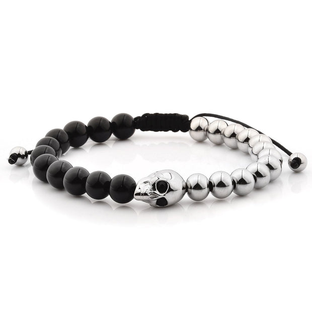 """Knock'em Dead Kid©"" Polished Black Onyx & Silver Skull & Bead Bracelet"