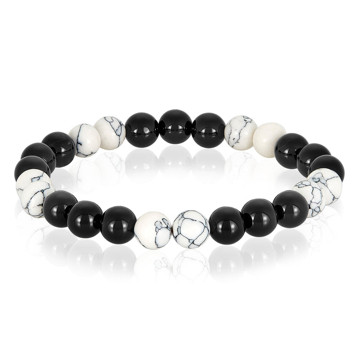Heavy Metal Heart© Unisex Howlite and Polished Agate Beaded Bracelet