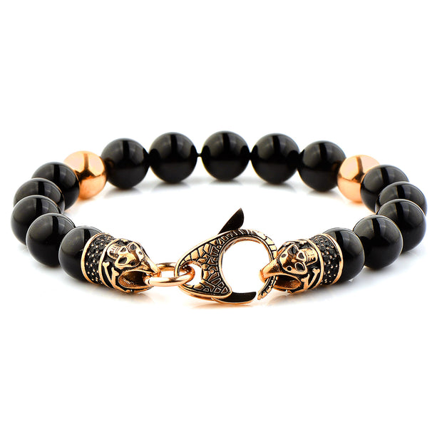 """Wild Side"" Black & Gold Lobster Clasp Men's Bracelet"